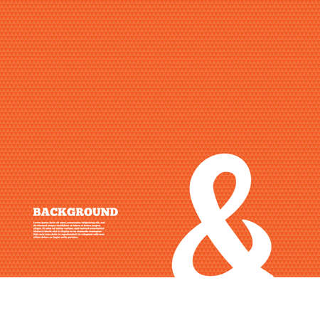 logical: Background with seamless pattern. Ampersand sign icon. Programming logical operator AND. Wedding invitation symbol. Triangles orange texture. Vector Illustration