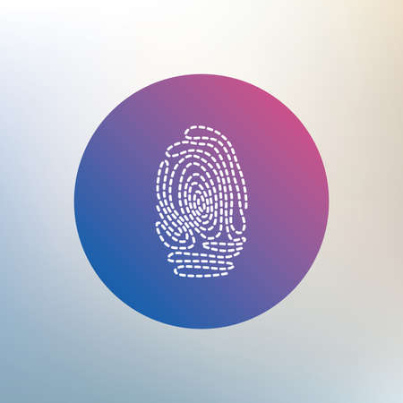 fingermark: Fingerprint sign icon. Identification or authentication symbol. Icon on blurred background. Vector