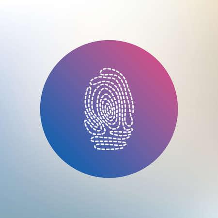 authentication: Fingerprint sign icon. Identification or authentication symbol. Icon on blurred background. Vector
