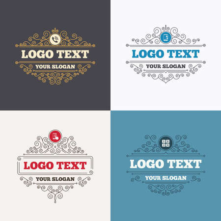 outcoming: Flourishes calligraphic emblems. Phone icons. Touch screen smartphone sign. Call center support symbol. Cellphone keyboard symbol. Incoming and outcoming calls. Luxury ornament lines. Vector