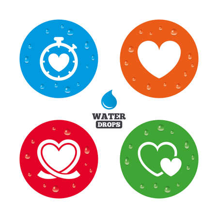palpitation: Water drops on button. Heart ribbon icon. Timer stopwatch symbol. Love and Heartbeat palpitation signs. Realistic pure raindrops on circles. Vector