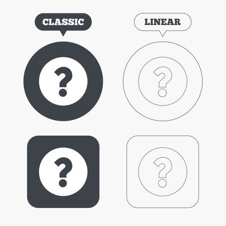 help symbol: Question mark sign icon. Help symbol. FAQ sign. Classic and line web buttons. Circles and squares. Vector Illustration
