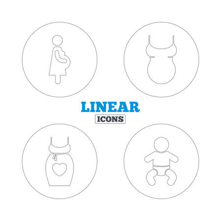 big size: Maternity icons. Baby infant, pregnancy and shirt signs. Dress with heart symbol. Linear outline web icons. Vector Illustration