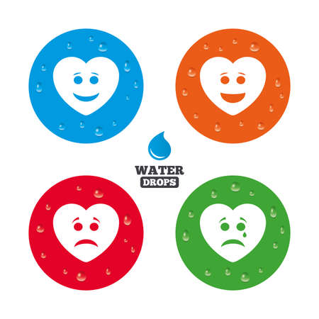 button icons: Water drops on button. Heart smile face icons. Happy, sad, cry signs. Happy smiley chat symbol. Sadness depression and crying signs. Realistic pure raindrops on circles. Vector Illustration