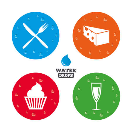condensation on glass: Water drops on button. Food icons. Muffin cupcake symbol. Fork and knife sign. Glass of champagne or wine. Slice of cheese. Realistic pure raindrops on circles. Vector