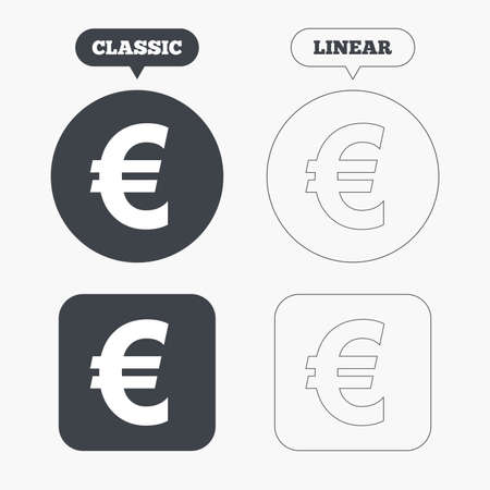 web2: Euro sign icon. EUR currency symbol. Money label. Classic and line web buttons. Circles and squares. Vector