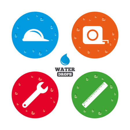 hard rain: Water drops on button. Construction helmet and wrench key tool icons. Ruler and tape measure roulette sign symbols. Realistic pure raindrops on circles. Vector