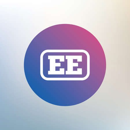 ee: Estonian language sign icon. EE translation symbol with frame. Icon on blurred background. Vector