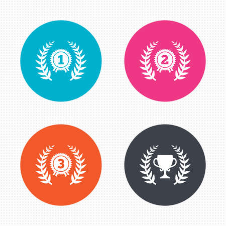 winner: Circle buttons. Laurel wreath award icons. Prize cup for winner signs. First, second and third place medals symbols. Seamless squares texture. Vector Illustration