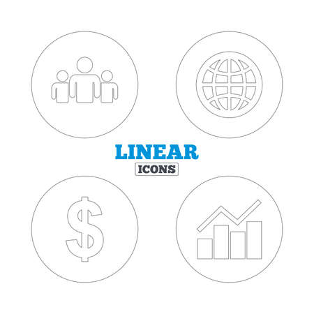 friend chart: Business icons. Graph chart and globe signs. Dollar currency and group of people symbols. Linear outline web icons. Vector