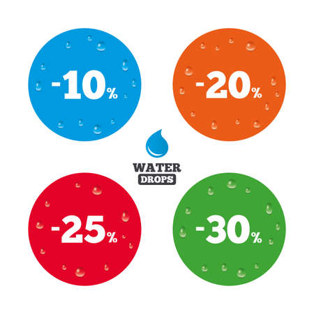 20 25: Water drops on button. Sale discount icons. Special offer price signs. 10, 20, 25 and 30 percent off reduction symbols. Realistic pure raindrops on circles. Vector Illustration