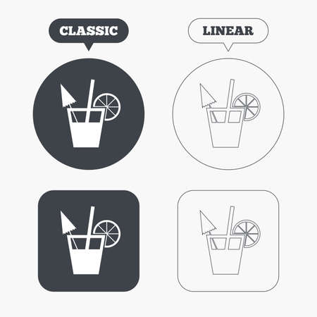 alcoholic drink: Cocktail sign. Alcoholic drink symbol. Classic and line web buttons. Circles and squares. Vector