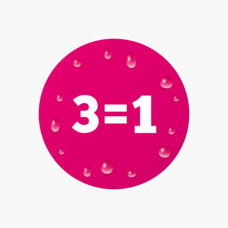equals: Water drops on button. Three for one sign icon. Take three pay for one sale button. 3 equals 1. Realistic pure raindrops. Pink circle. Vector