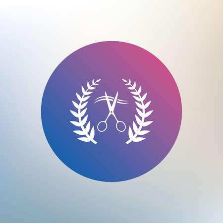 cut hair: Scissors cut hair sign icon. Hairdresser or barbershop laurel wreath symbol. Winner award. Icon on blurred background. Vector Illustration