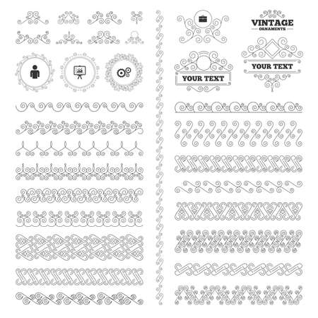 diplomat: Vintage ornaments. Flourishes calligraphic. Business icons. Human silhouette and presentation board with charts signs. Case and gear symbols. Invitations elements. Vector