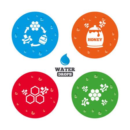 fruttosio: Gocce d'acqua su tasto. Icona miele. Celle a nido d'ape con api simbolo. Dolci segni alimentari naturali. Gocce di pioggia puro realistici sui cerchi. Vettore Vettoriali