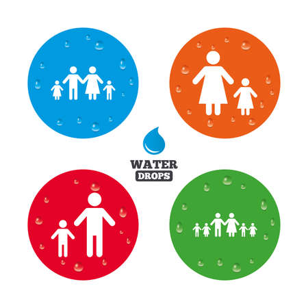 divorce: Water drops on button. Large family with children icon. Parents and kids symbols. One-parent family signs. Mother and father divorce. Realistic pure raindrops on circles. Vector Illustration