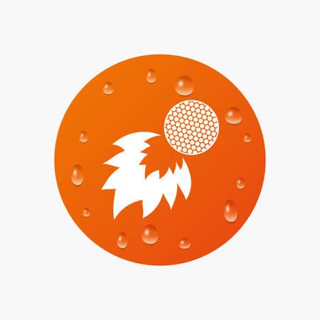 fireball: Water drops on button. Golf fireball sign icon. Sport symbol. Realistic pure raindrops. Orange circle. Vector