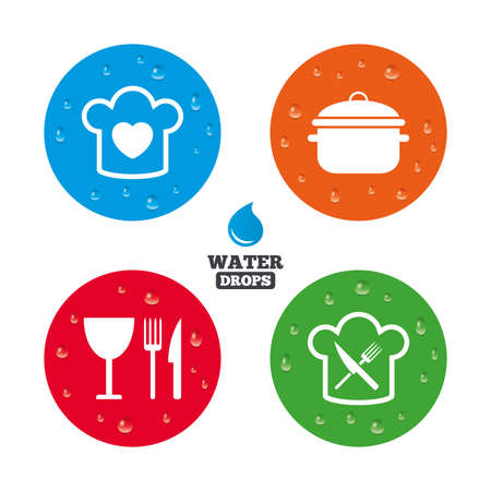 stew: Water drops on button. Chief hat with heart and cooking pan icons. Crosswise fork and knife signs. Boil or stew food symbol. Realistic pure raindrops on circles. Vector
