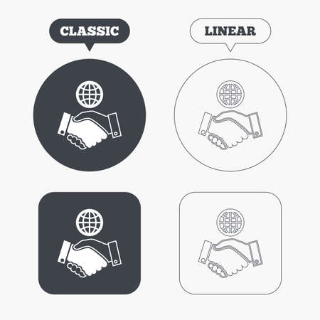 amicable: World handshake sign icon. Amicable agreement. Successful business with globe symbol. Classic and line web buttons. Circles and squares. Vector Illustration