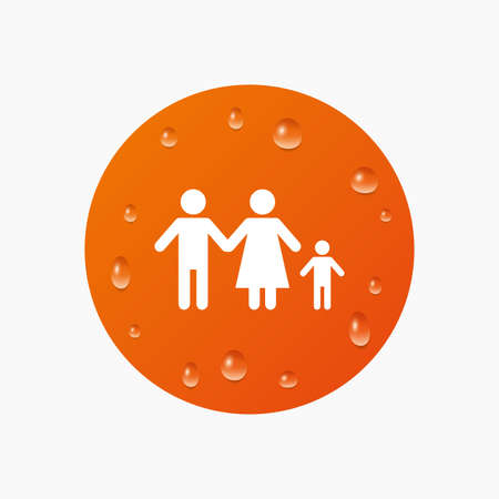 family with one child: Water drops on button. Family with one child sign icon. Complete family symbol. Realistic pure raindrops. Orange circle. Vector Illustration