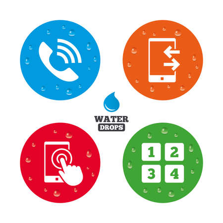 outcoming: Water drops on button. Phone icons. Touch screen smartphone sign. Call center support symbol. Cellphone keyboard symbol. Incoming and outcoming calls. Realistic pure raindrops on circles. Vector Illustration