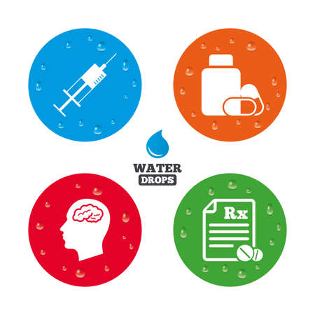 prescription bottle: Water drops on button. Medicine icons. Medical tablets bottle, head with brain, prescription Rx and syringe signs. Pharmacy or medicine symbol. Realistic pure raindrops on circles. Vector
