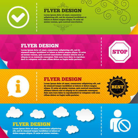 Flyer brochure designs. Information icons. Stop prohibition and user blacklist signs. Approved check mark symbol. Frame design templates. Vector