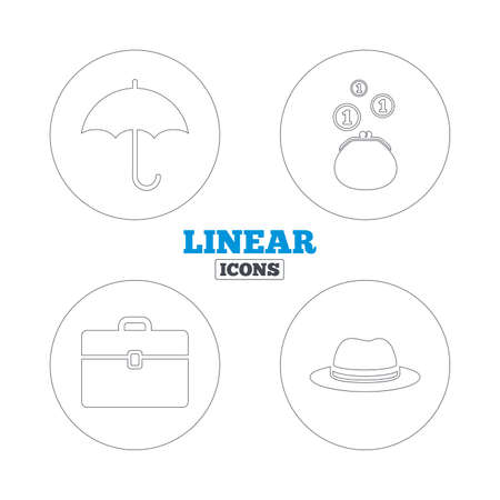 business case: Clothing accessories icons. Umbrella and headdress hat signs. Wallet with cash coins, business case symbols. Linear outline web icons. Vector