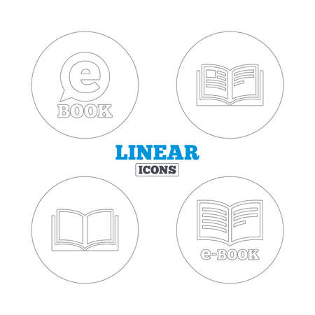 electronic book: Electronic book icons. E-Book symbols. Speech bubble sign. Linear outline web icons. Vector Illustration