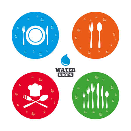 knifes: Water drops on button. Plate dish with forks and knifes icons. Chief hat sign. Crosswise cutlery symbol. Dessert fork. Realistic pure raindrops on circles. Vector Illustration