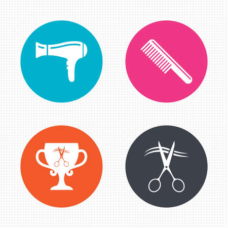 blow drying: Circle buttons. Hairdresser icons. Scissors cut hair symbol. Comb hair with hairdryer symbol. Barbershop winner award cup. Seamless squares texture. Vector