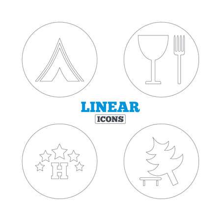 fork road: Alimentos, hotel, tienda de campa�a y el �rbol iconos. Copa y tenedor. Divida �rbol. Las se�ales de tr�fico. Iconos de la web de contorno lineales. Vector