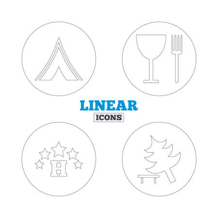 fork in road: Food, hotel, camping tent and tree icons. Wineglass and fork. Break down tree. Road signs. Linear outline web icons. Vector