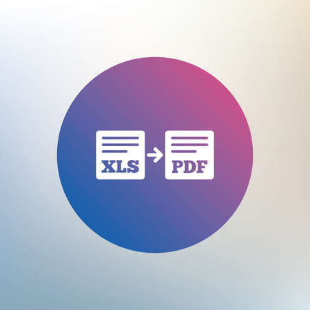 xls: Export XLS to PDF icon. File document symbol. Icon on blurred background. Vector Illustration