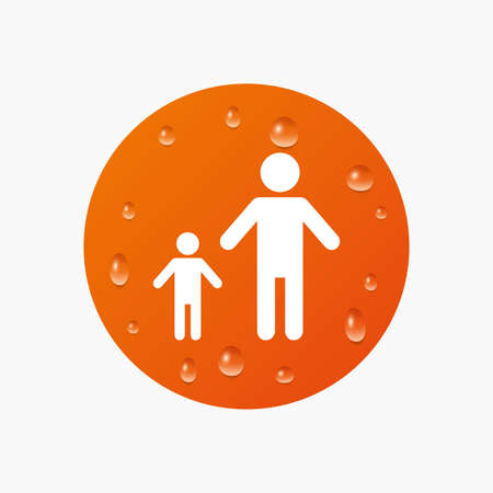 family with one child: Water drops on button. One-parent family with one child sign icon. Father with son symbol. Realistic pure raindrops. Orange circle. Vector Illustration