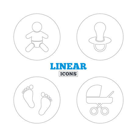 infants: Baby infants icons. Toddler boy with diapers symbol. Buggy and dummy signs. Child pacifier and pram stroller. Child footprint step sign. Linear outline web icons. Vector