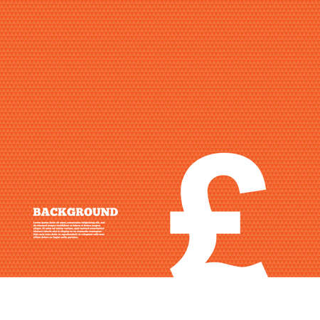 gbp: Background with seamless pattern. Pound sign icon. GBP currency symbol. Money label. Triangles orange texture. Vector