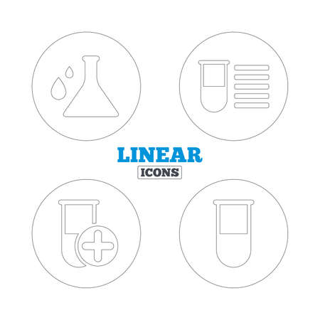 laboratory equipment: Chemistry bulb with drops icon. Medical test signs. Laboratory equipment symbols. Linear outline web icons. Vector Illustration