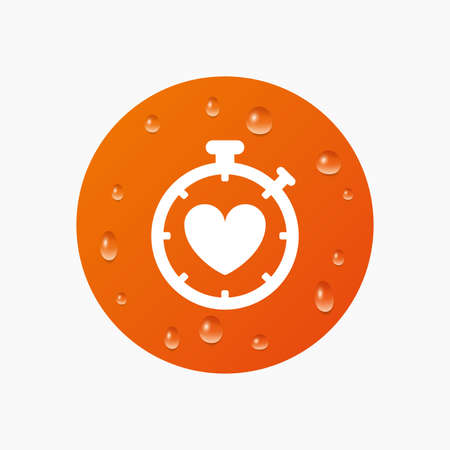 palpitation: Water drops on button. Heart Timer sign icon. Stopwatch symbol. Heartbeat palpitation. Realistic pure raindrops. Orange circle. Vector Illustration