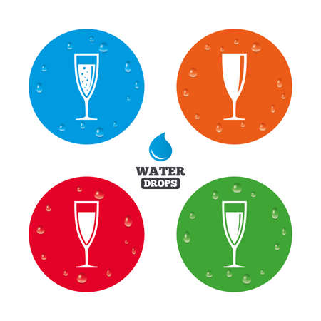 chardonnay: Water drops on button. Champagne wine glasses icons. Alcohol drinks sign symbols. Sparkling wine with bubbles. Realistic pure raindrops on circles. Vector