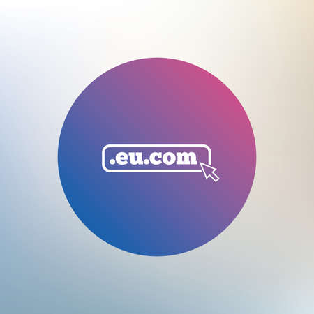 subdomain: Domain EU.COM sign icon. Internet subdomain symbol with cursor pointer. Icon on blurred background. Vector Illustration