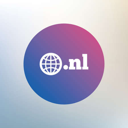 domain: Domain NL sign icon. Top-level internet domain symbol with globe. Icon on blurred background. Vector