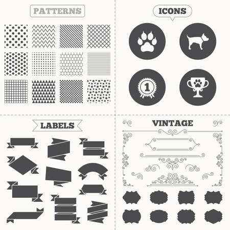clutches: Seamless patterns. Sale tags labels. Pets icons. Cat paw with clutches sign. Winner cup and medal symbol. Dog silhouette. Vintage decoration. Vector