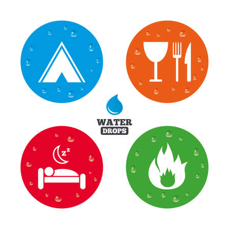 breakfast in bed: Water drops on button. Food, sleep, camping tent and fire icons. Knife, fork and wineglass. Hotel or bed and breakfast. Road signs. Realistic pure raindrops on circles. Vector