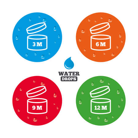 6 9 months: Water drops on button. After opening use icons. Expiration date 6-12 months of product signs symbols. Shelf life of grocery item. Realistic pure raindrops on circles. Vector