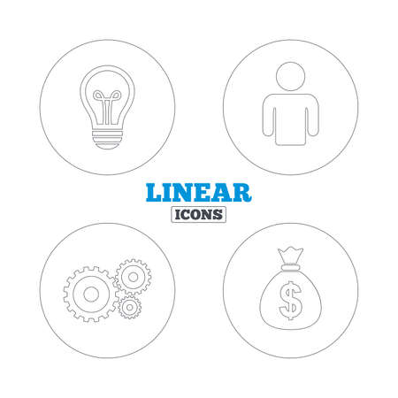lamp outline: Business icons. Human silhouette and lamp bulb idea signs. Dollar money bag and gear symbols. Linear outline web icons. Vector