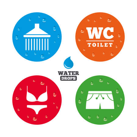 man and women wc sign: Water drops on button. Swimming pool icons. Shower water drops and swimwear symbols. WC Toilet sign. Trunks and women underwear. Realistic pure raindrops on circles. Vector