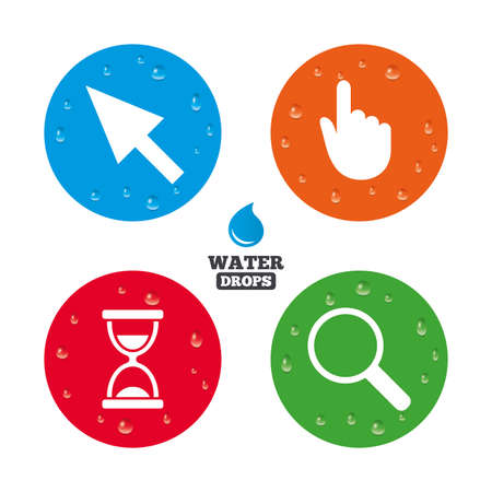 condensation on glass: Water drops on button. Mouse cursor and hand pointer icons. Hourglass and magnifier glass navigation sign symbols. Realistic pure raindrops on circles. Vector Illustration