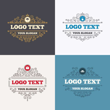 business case: Flourishes calligraphic emblems. Clothing accessories icons. Umbrella and headdress hat signs. Wallet with cash coins, business case symbols. Luxury ornament lines. Vector